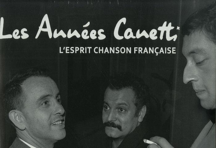 Photo représentant Jacques Canetti avec Brassens et Gainsbourg dans les années 60