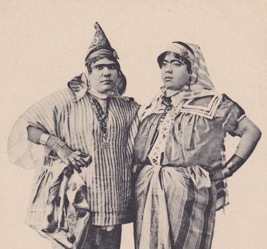 Carte postale ancienne représentant 2 femes juives tunisiennes Jewpop