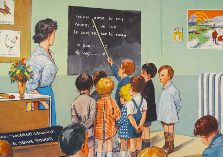 Ecole année cinquante affiche Rossignol
