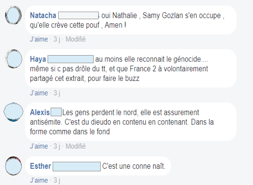 COMMENTAIRES FACEBOOK LAURA LAUNE ANTISÉMITE JEWPOP
