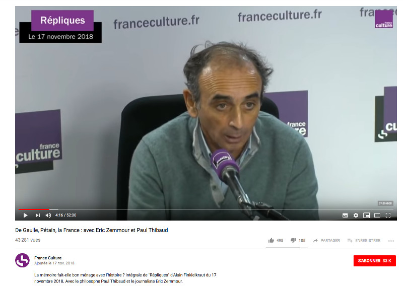 Eric Zemmour France Culture Jewpop