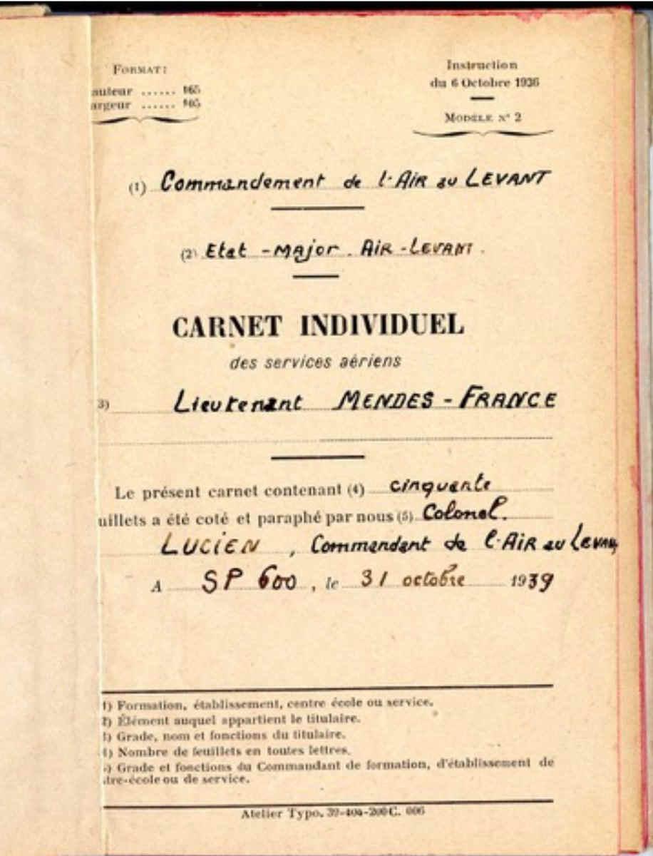 Carnet militaire Pierre Mendès France Beyrouth 1039 Jewpop