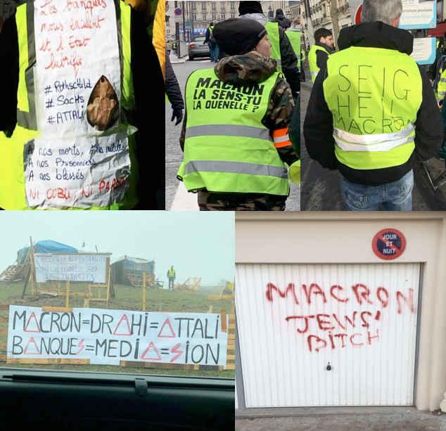Plusieurs photos de manifestants et tags Gilets jaunes antisemites Jewpop