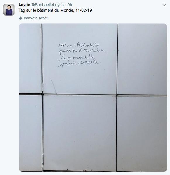 Photo représentant un tag antisemite sur le mur des locaux du journal Le Monde Jewpop