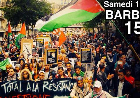 Affiche manifestation propalestinienne Barbès 2014