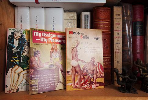 Photo représentant des livres érotiques de la collection de Clifford Sheiner Jewpop