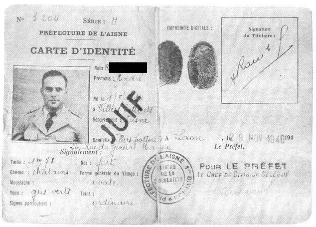 carte indetite juif occupation
