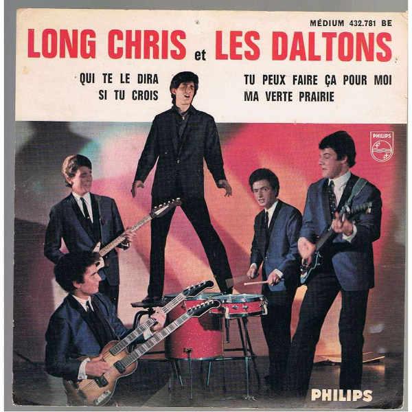 Pochette d'un 45t de Long Chris et lLes Daltons, avec Claude Hampel Jewpop