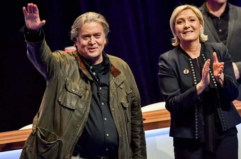 Photo représentant Steve Bannon et Marine Le Pen Jewpop