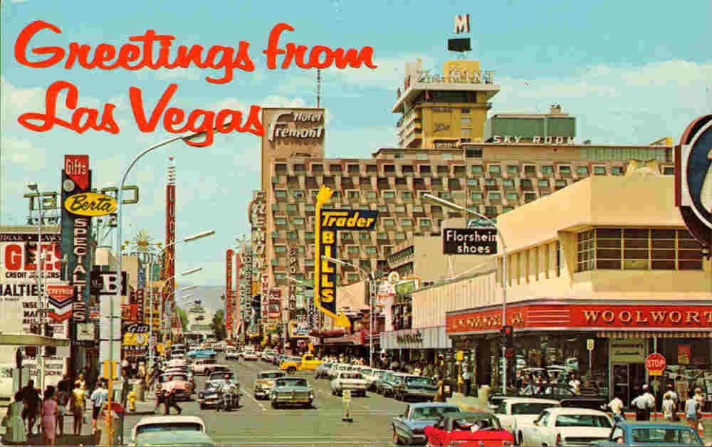 Carte postale de Las Vegas dans les années cinquante