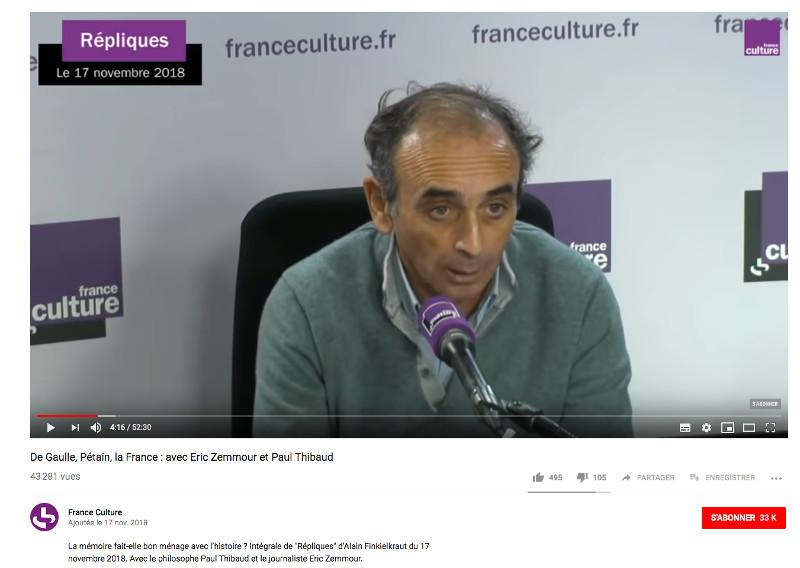 Eric Zemmour France Culture Jewpop
