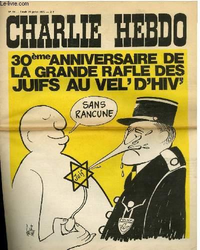 Couverture Charlie Hebdo Rafle Vel d'Hiv Jewpop