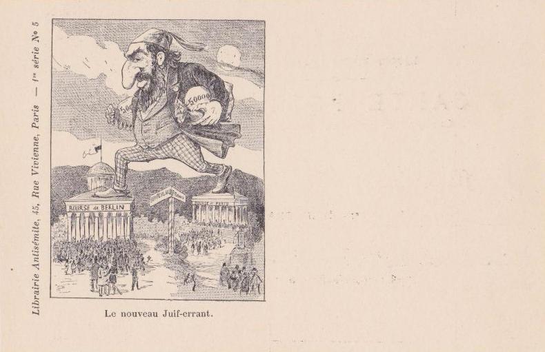 """Carte postale antisémite représentant le """"juif errant"""" Jewpop"""