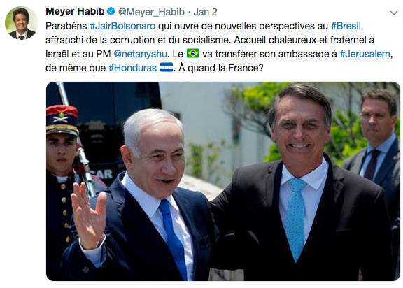 Tweet de Meyer Habib en soutien au président brésilien Bolsonaro Jewpop