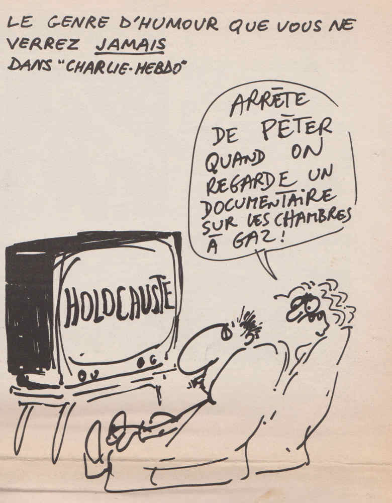 Dessin de Reiser sur la Shoah dans Charlie Hebdo Jewpop