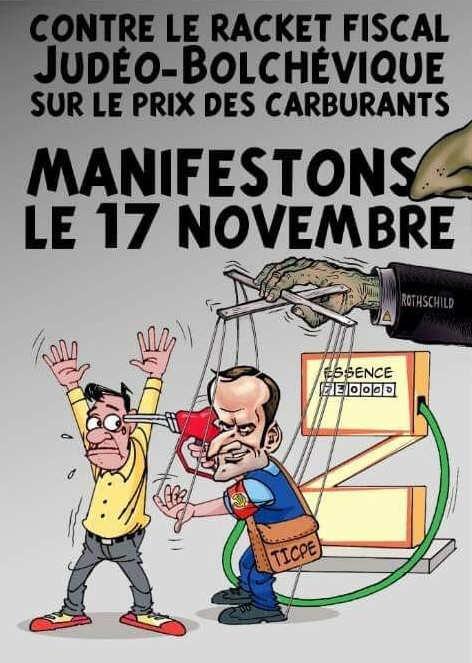 """Affiche antisémite représentant Emmanuel Macron en """"judeo-bolchevique"""" Jewpop"""