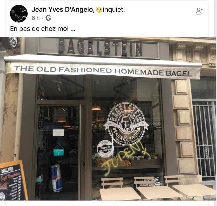 """Photo représentant un tag """"juden"""" sur la vitrine de la boutique Bagesltin à Paris Jewpop"""