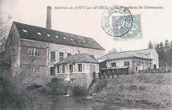 Carte postale ancienne représentant la papeterie de Jouy-en-Morin Jewpop
