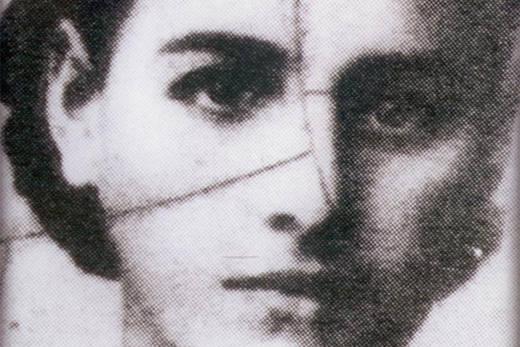 Photo représentant un visage de femme juive disparue pendant la Shoah extraite du film Zakhor Jewpop en noir et blanc
