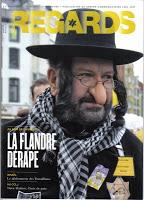 Couverture de la revue belge Regards figurant un participant du carnaval d'Alost déguisé en juif orthodoxe Jewpop