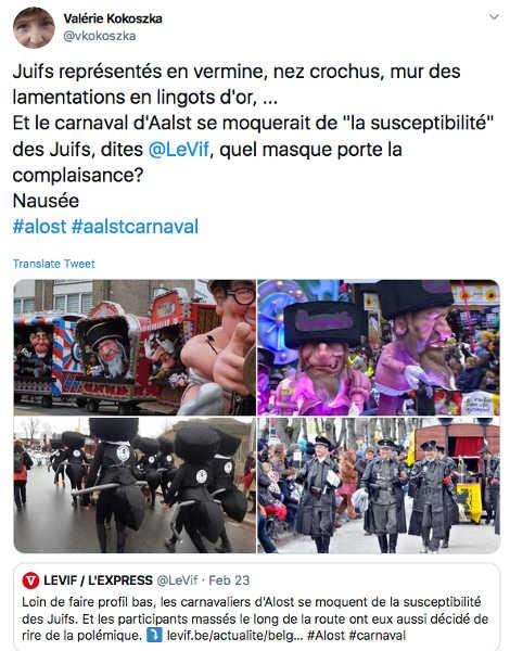 Capture d'écran Twitter carnaval Alost Jewpop