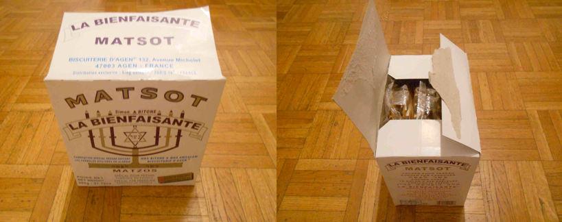 Photo représentant des boîtes de Matsa Bienfaisante Pessah Jewpop