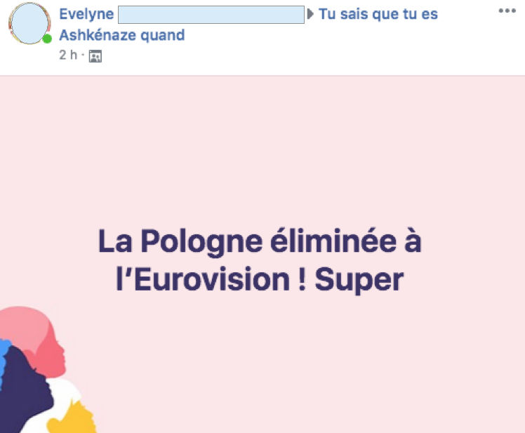 Visuel d'un post Facebook sur l'Eurovision Jewpop