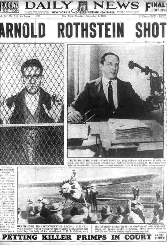 Une du Daily News annonçant l'assassinat d'Arnorld Rothstein casinos Jewpop