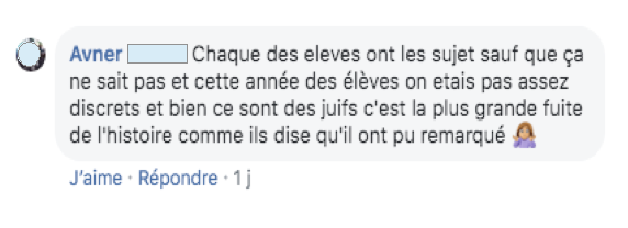Commentaire Facebook bac Jewpop