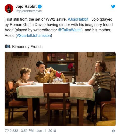 Copie d'écran du compte Twitter du film Jojo Rabbit Taika Waititi Jewpop