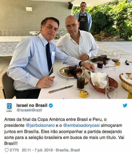 Capture d'écran d'un tweet de l'ambassade d'Israel au Bresil homard Jewpop