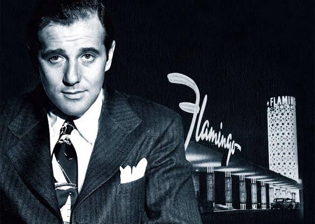 Photo représentant Bugsy Siegel devant le casino Flamingo à Las Vegas Jewpop
