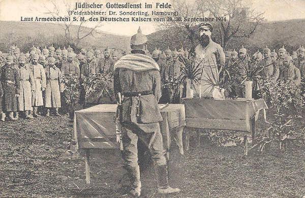Soldats juifs allemand pendant la première guerre mondiale, célébrant un office religieux Jewpop