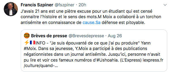 Tweet de l'avocat Francis Szpiner Yann Moix Jewpop