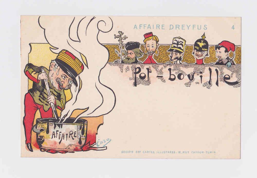 Carte postale figurant une caricature sur l'Affaire Dreyfus Jewpop
