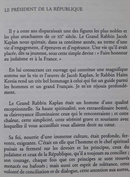 Préface de Jacques Chirac dédiée à Jacob Kaplan Jewpop