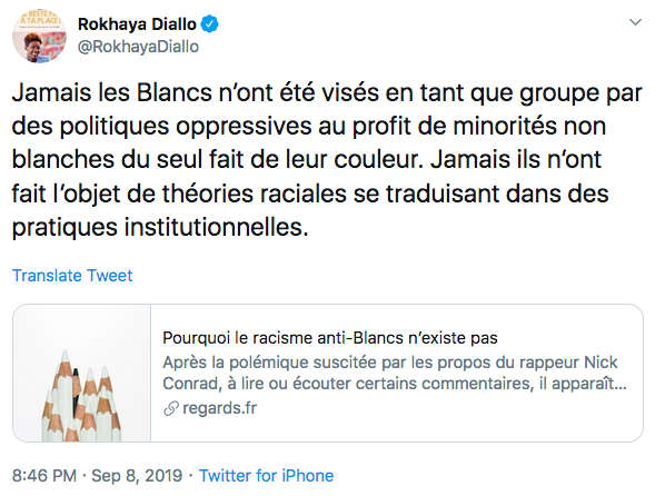 Tweet de Rokhaya Diallo Blancs génocides Jewpop