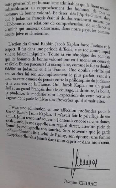 Préface de Jacques Chirac dédiée à Jacob Kaplan suite Jewpop