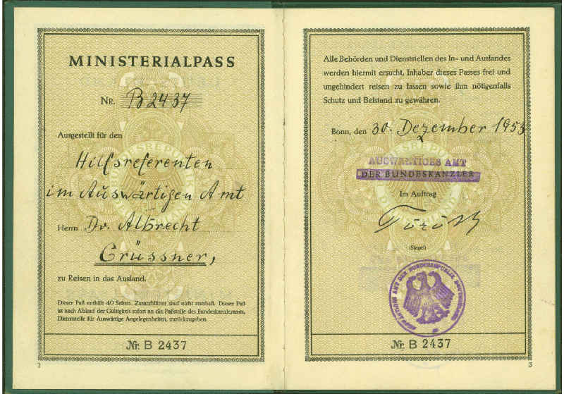 Pages d'un passeport allemand 1953 Jewpop