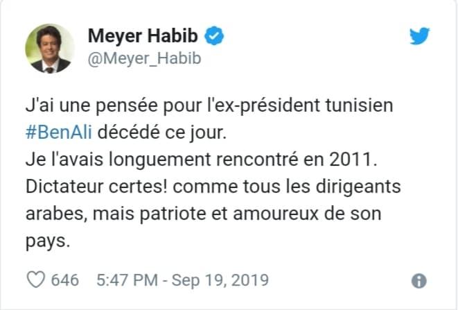 Copie d'écran du tweet de Meyer Habib en hommage à Ben Ali Jewpop