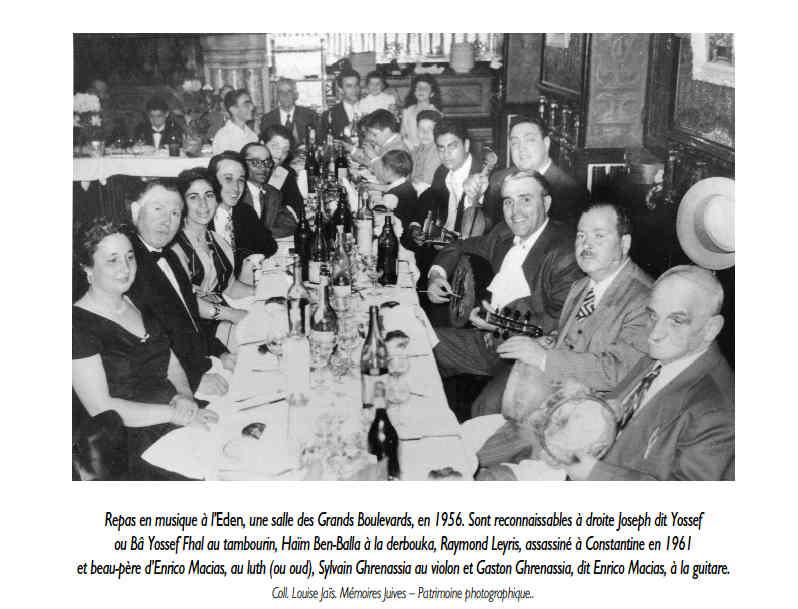 Photo d'un repas en musique à l'Eden, 1956 Jewpop