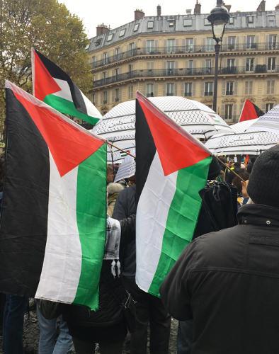 Photo de drapeaux palestiniens à la marche contre islamophobie Jewpop