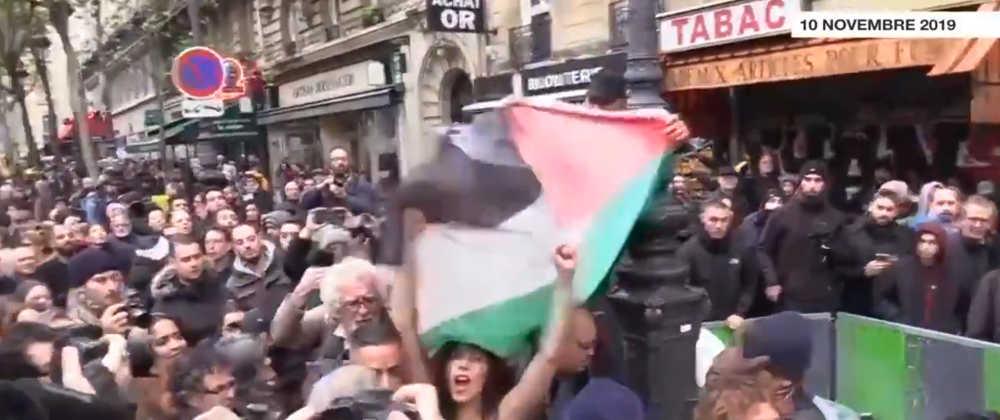 Photo représentant une militante Femen dont la nudité est cachée par un drapeau palestinien marche contre islamophobie Jewpop