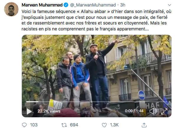 Photo du compte Twitter de marwan Muhammad marche contre l'islamophobie Jewpop