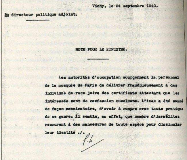 Lettre dénonçant l'aide de la Mosquée de Paris aux juifs sous l'Occupation Jewpop