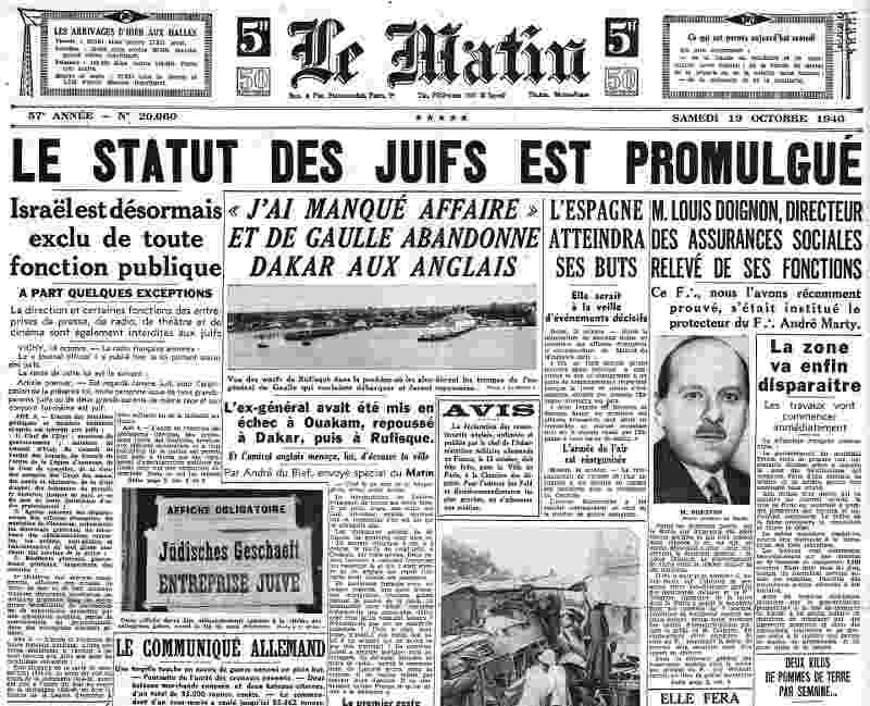 Page du quotidien Le Matin statut des juifs Jewpop