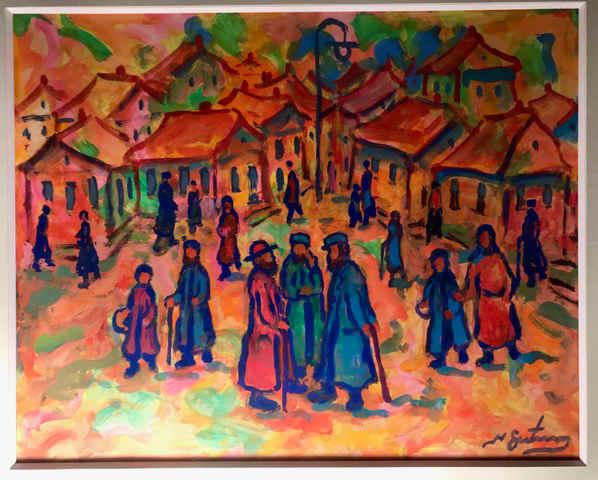 Photo d'une huile sur papier de Nathan Gutmann Judaica Jewpop