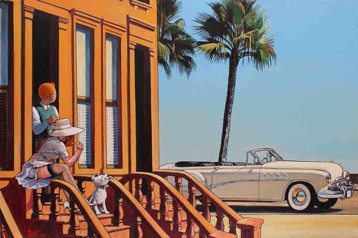 Peinture de Xavier Marabout Tintin Hooper vacances en buick roadmaster Jewpop
