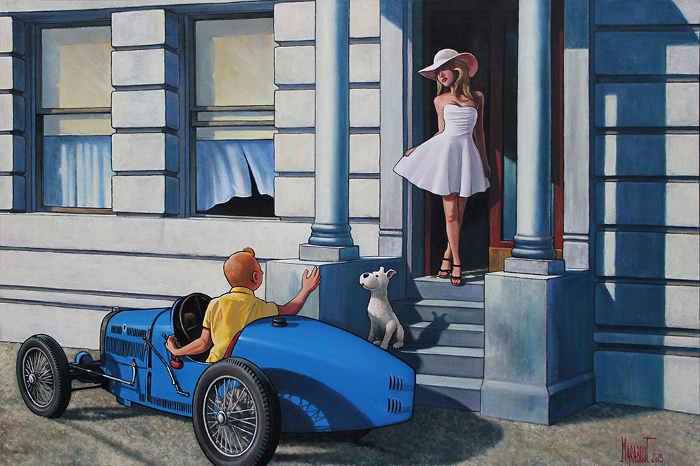 Peinture de Marabout Tintin Hooper Torpedo Jewpop