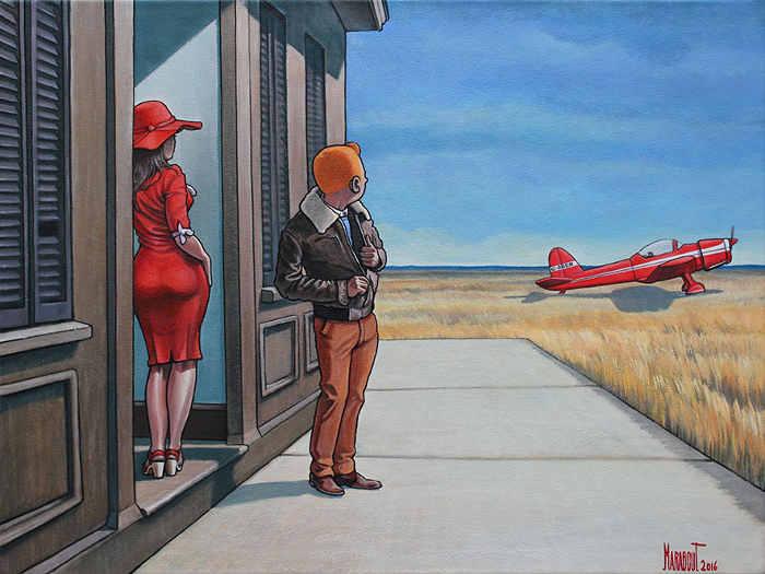 Peinture de Marabout Tintin Hooper Voltige rouge Jewpop